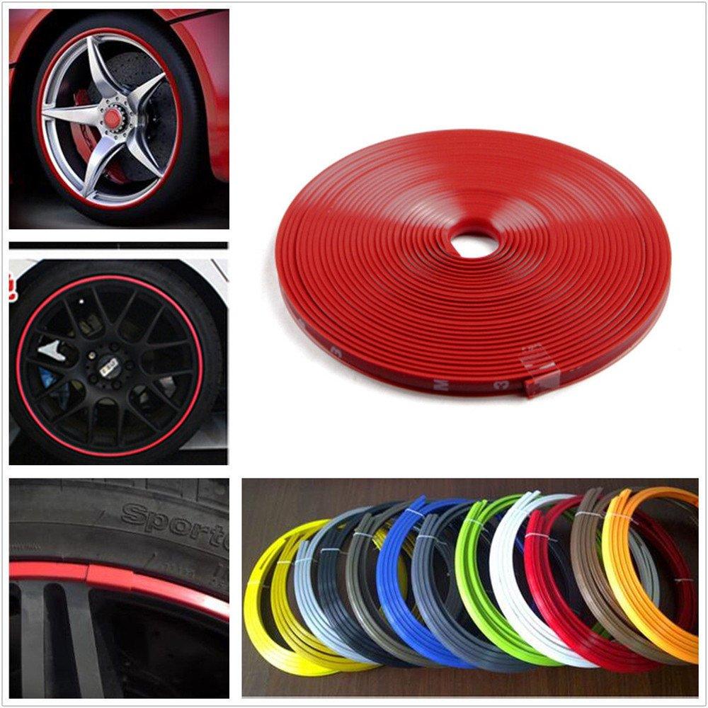 Red car motor bike wheel hub rim edge protector ring sticker line rubber strip amazon co uk car motorbike