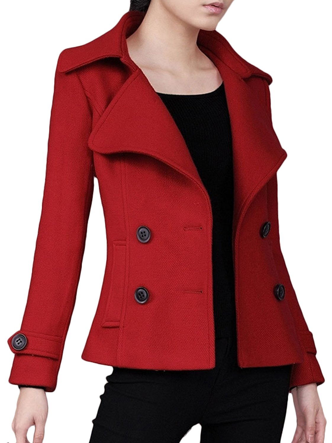 Youhan Women's Woolen Pea Coat Double Breasted Short Trench Coat (Small, Red)