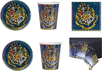 Party Store web by casa dolce casa Harry Potter - Juego de vajilla para Fiesta de Harry Potter (24 CDC-(32 Platos, 32 Vasos, 32 servilletas, 1 Mantel): Amazon.es: Juguetes y juegos