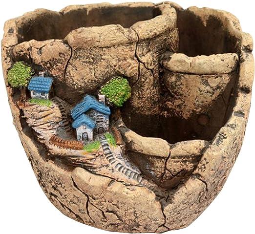Maceta creativa de hadas para plantas y jardín con soportes, de la marca Horbous, para suculentas, para plantas artificiales: Amazon.es: Jardín
