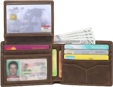 Men/'s Genuine Leather Bifold Slim Thin ID Card Holder W//Snap Closure Black Brown