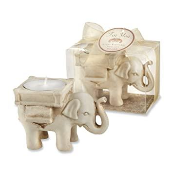 5372703bdd3 Image Unavailable. Image not available for. Color  Lucky Elephant Antique  Ivory- Finish Tea Light Holder ...