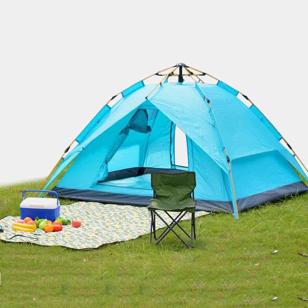 Zelt Outdoor 2 Outdoor 3-4 Outdoor Camping Regendicht Familie Camping Full Automatik Zelt Set Outdoor Zelt 190T Dalter Zelt 150D Oxford Tuch Glaspfahl Halterung Blau Grün Outdoor Zelt, Field Survival,