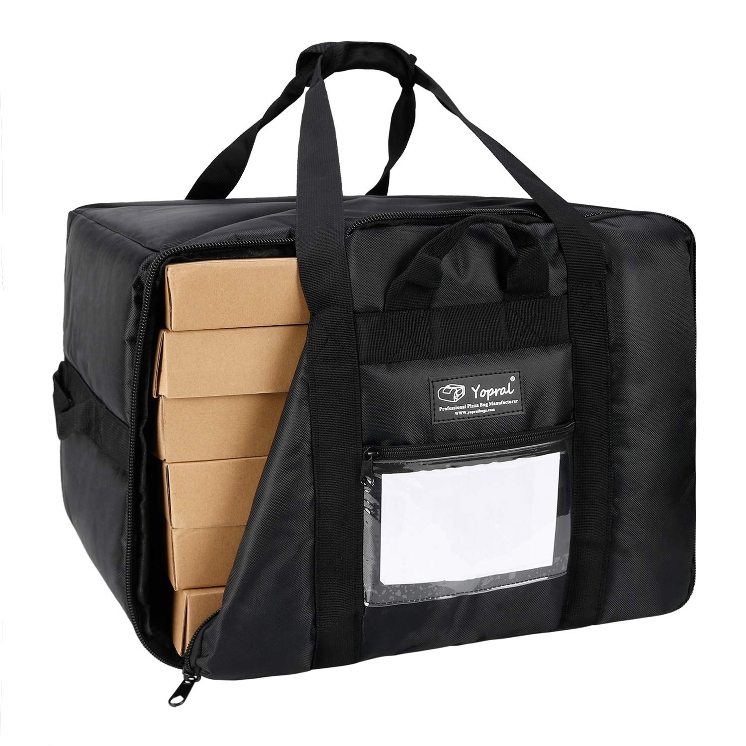 YOPRAL Insulated Pizza Delivery Bag Large Zipper Closure Commercial Food Warmer Bag Carry Hot/Cold for Uber Eats Doordash Restaurant Catering- Holds Six 18 Inch Pizza Boxes