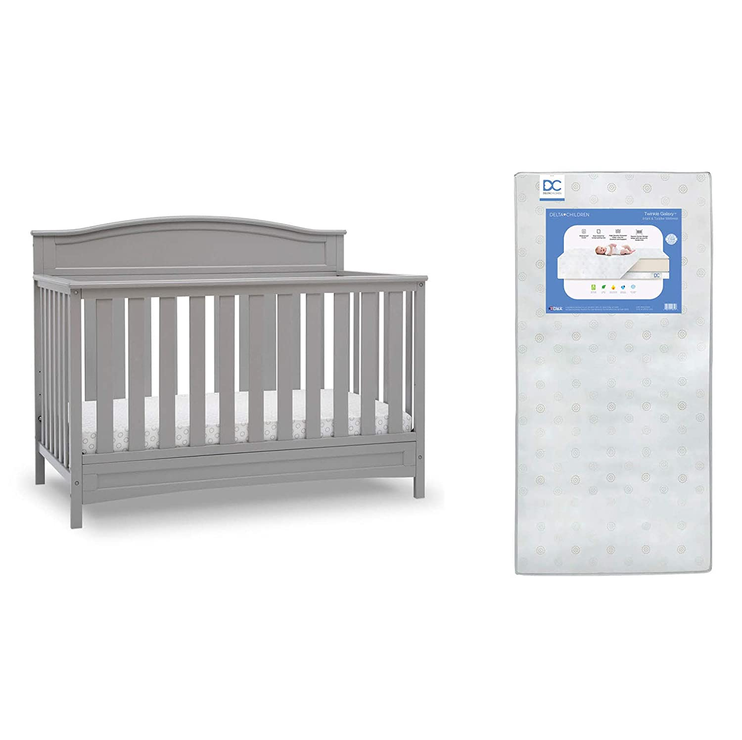 Delta Children Emery Deluxe 6-in-1 Convertible Crib, Grey + Delta Children Twinkle Galaxy Dual Sided Recycled Fiber Core Crib and Toddler Mattress (Bundle)