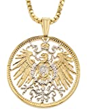 German Eagle Pendant and Necklace, German Coin Hand Cut, 14 K Gold and Rhodium Plated, 7/8