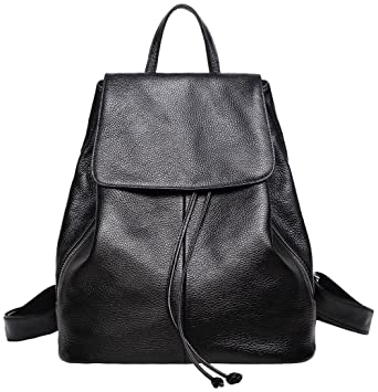 d01be76f80f7 Amazon.com  Black Leather Backpack Purse for Women Elegant Ladies Travel  School Shoulder Bag  Clothing