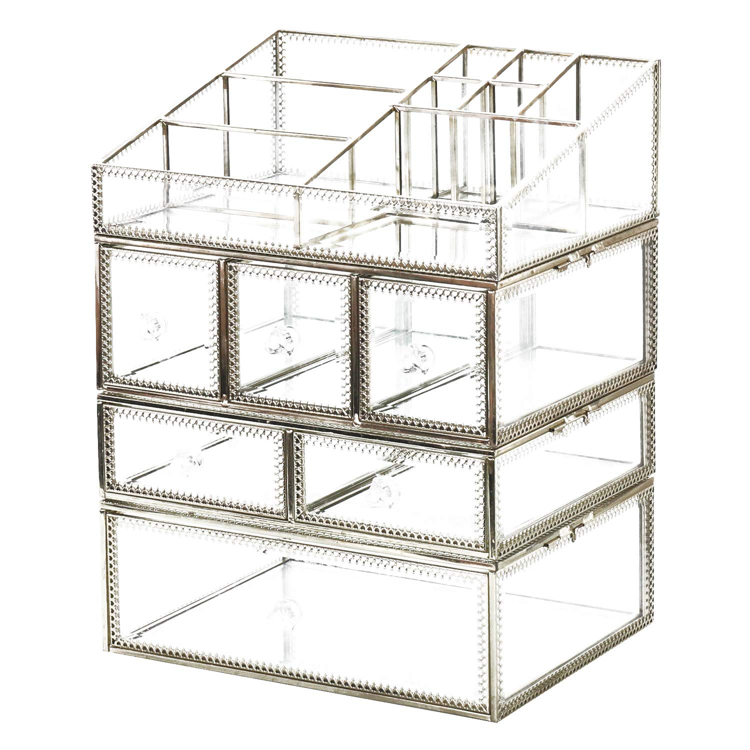 Hersoo Antique Spacious Mirror Glass 4-Shelf Drawers/Brass Metal Cosmetic Makeup Storage/Jewelry Top Dresser. by Hersoo (Image #2)