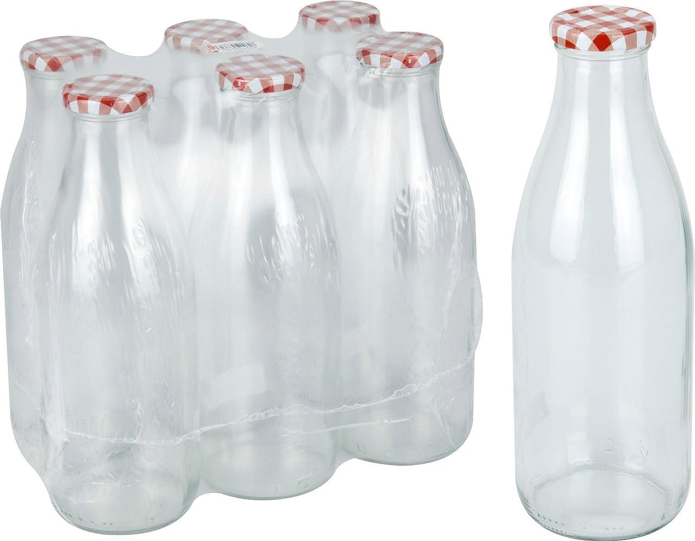 Conjunto de 6 Vidrio Leche Botellas con Roja Tapa 1 Litro Vintage ...