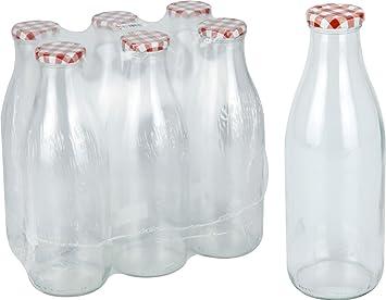 Juego de botellas de vidrio con tapa roja de 1 l para la leche / Botellas de vidrio clásicas para la leche / 6 unidades: Amazon.es: Hogar