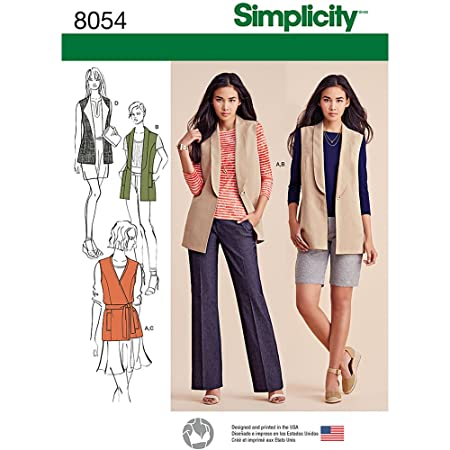 Simplicity 8054u5 Misses Lined Vests And Knit Top Sewing Pattern