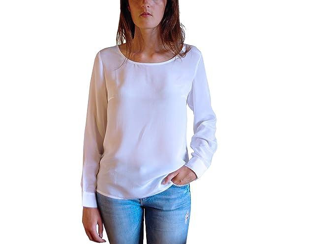 Posh Gear Mujer Blusa de Seda Rotondoseta, Blanco, XS