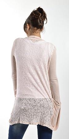 Gilet long à fleurs Rose pâle  Amazon.fr  Vêtements et accessoires 7f902078d941
