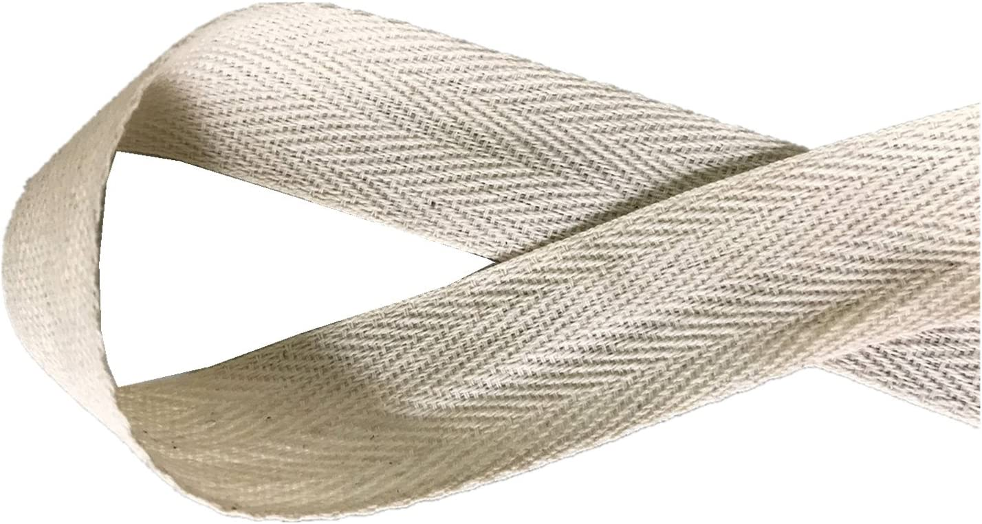 QIANF Twill Tape Ribbon 100% Cotton Natural Color 1 Inch Wide 50 Yard Roll Herringbone Tape(1 Inch-50Yard, Off-White)
