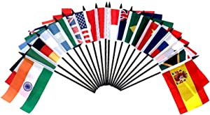 """G-20 (Group of 20) World Flag SET-20 Polyester 4""""x6"""" Flags, One Flag for Each Country in The G-20, 4x6 Miniature Desk & Table Flags, Small Mini Stick Flags"""