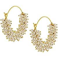 Manorama Jewellers Inspired Polki Meenakari White Pearl Earrings for Women