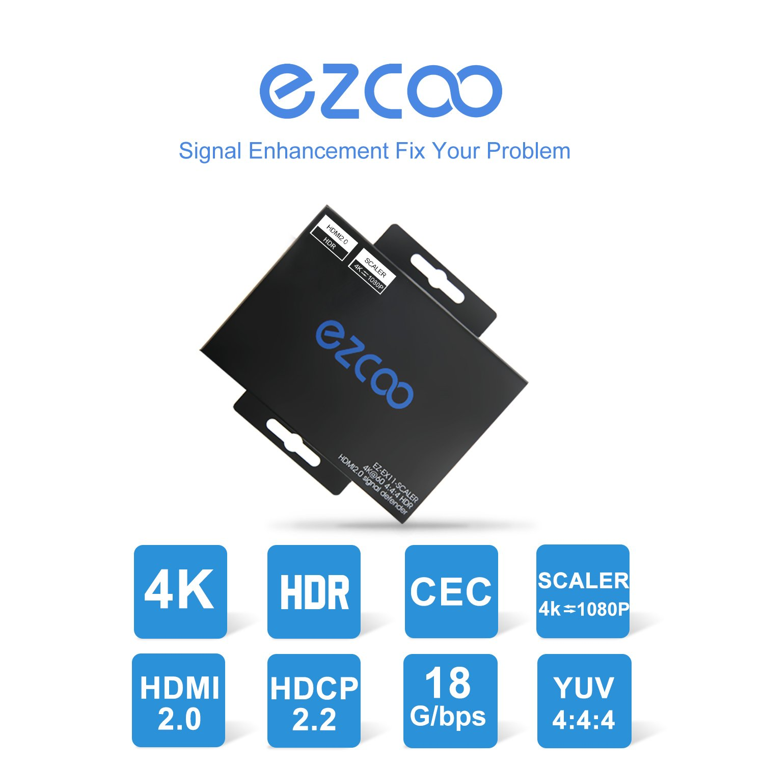 4K HDMI 2.0 Repeater HDR Dolby Vision, HDMI Up Scaler sacling & HDMI Down Scaler scaling,HDMI Adapter 4K@60Hz (4:4:4) 18Gbps,HDMI HDCP Booster,HDMI Signal Amplifier,HDMI Extender Up to 200ft (60m),CEC