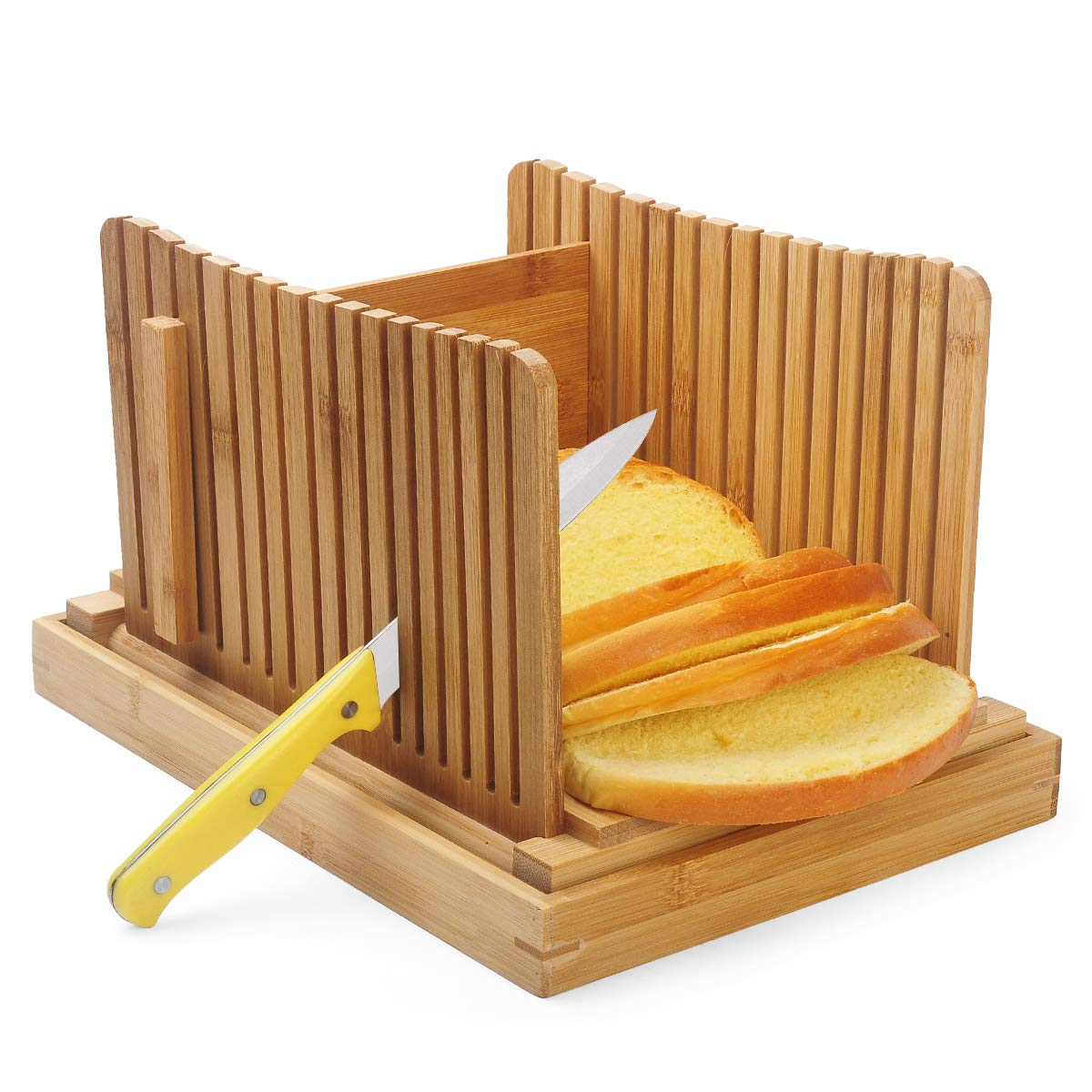 AKUNSZ Bamboo Bread Slicer Guide with Crumb Catcher, Adjustable Bread Loaf Slicer Foldable Bread Cutter Slicer - Thickness Adjustable 1/4'',3/8'',1/2''(Assembled Size 5.5''x9.3''x7'') by AKUNSZ (Image #2)
