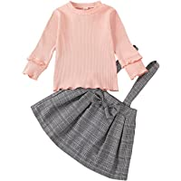 BOWINR Baby Girl Clothes Toddler Outfits Long Sleeve Shirt Stripe Top Plaid Suspender Skirt Bowknot Set