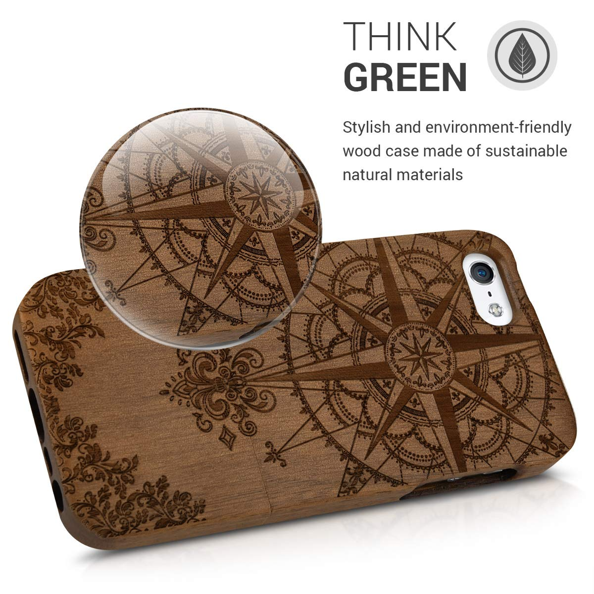 Natural Solid Hard Wooden Protective Cover for Apple iPhone SE 5 5S Bamboo Wood Case 5 5S kwmobile Apple iPhone SE