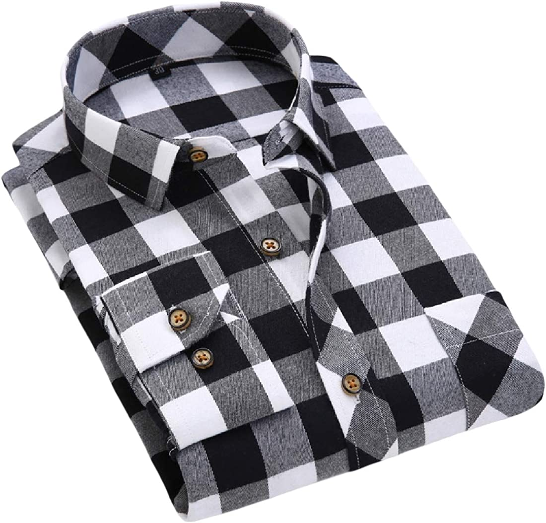 SportsX Men Plaid Pattern Silm Fit Long-Sleeve Square Collar Flannel Shirt