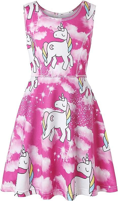 YRE Niña Vestido de algodón de Dibujos Animados, Unicornio ...
