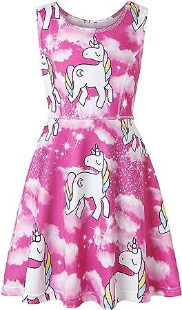 YRE Niña Vestido de algodón de Dibujos Animados, Unicornio impresión Vestido niña Pijamas, Encaje de los niños Linda impresión Princesa Falda, 3-9 años de Edad,4/110cm: Amazon.es: Hogar