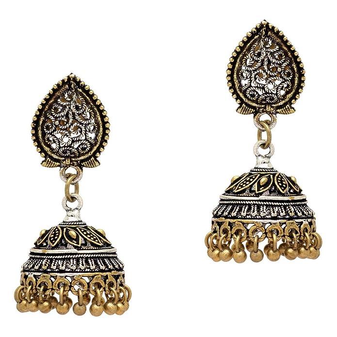 Buy Maitreya Wonder oxidised silver golden jhumki for women and