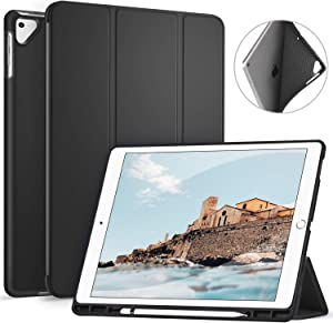 Ztotop Case for iPad Pro 12.9 Inch 2017/2015 with Pencil Holder- Lightweight Soft TPU Back Cover and Trifold Stand with Auto Sleep/Wake,Protective for iPad Pro 12.9 Inch(1st & 2nd Gen),Black