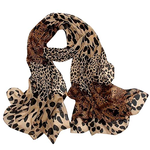 7121351276763 MaxFox Women's Leopard Print Silk Scarf,Multi-Purpose Polka Dot Chiffon  Hair Tie Band