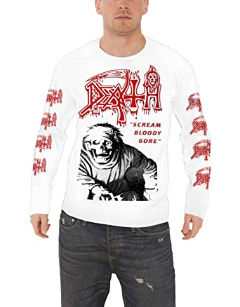 293a759753f972 Death  Scream Bloody Gore  (White) Long Sleeve Shirt - Ultrakult Clothing (