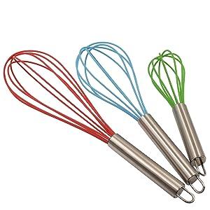 Vhabob Silicone Whisk, Balloon Whisk Set, Egg Frother, Milk and Egg Beater Blender,Stainless Steel & Silicone Kitchen Whisk for Blending, Whisking, Beating, Stirring, Set of 3, Red, Blue, Green