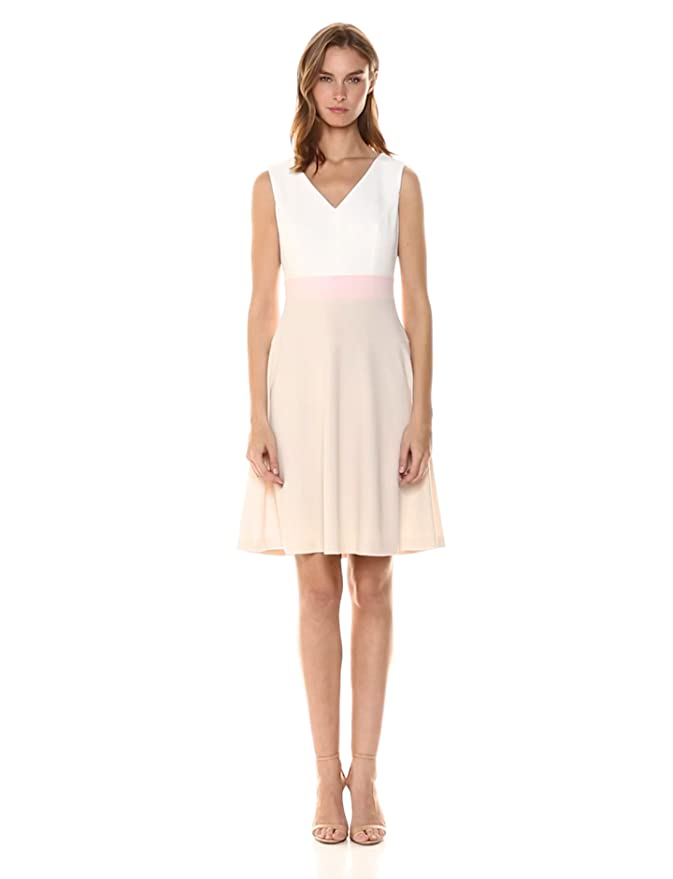 711da5870165d Tommy Hilfiger Women's Scuba Crepe V Neck Tri Colorblock Dress at Amazon  Women's Clothing store: