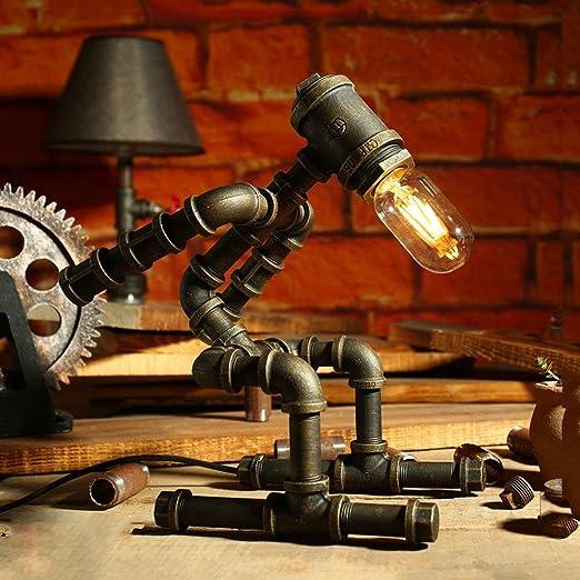MOMO Lámpara de Mesa Industrial Retro, Creativo Tubo de Hierro ...
