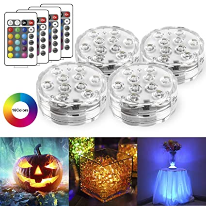 StillCool Submersible LED Lights, Waterproof Multi Color Underwater Lights with Remote Battery Operated LED Decorative Lights for Lighting Up Vase,Fish Tank,Wedding,Halloween,Christmas (4Pack) best LED accent lights