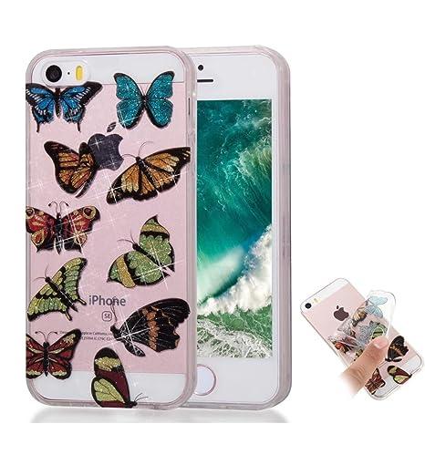 a9c6bcd1017 Funda iPhone 5/5S/SE silicona Espumoso TPU Negro flor mariposa Bling Bling  Glitter