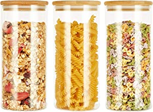 SXUDA 3 Pack Glass Food Storage Jars Containers with Airtight Bamboo Lids, 34 OZ High Borosilicate Glass Kitchen Canisters For Serving Tea, Coffee, Flour, Sugar, Candy, Cookie, Spice and More