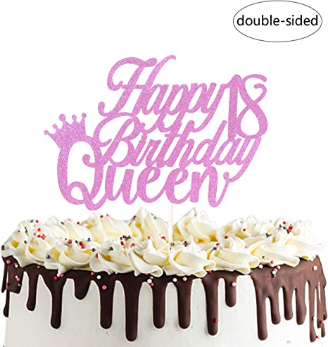 Remarkable Amazon Com Happy 18Th Queen Birthday Cake Topper For Forever 18 Personalised Birthday Cards Arneslily Jamesorg