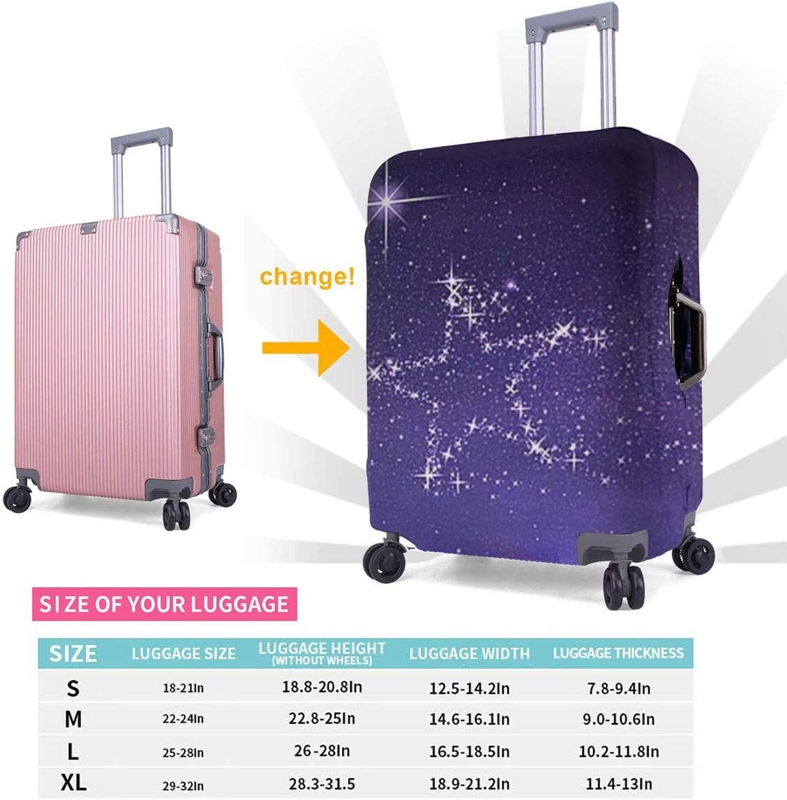 Cute Star Design Travel Suitcase Protector Anti-scratch Washable Dust Thicken Elasticity Cover Travel Luggage Cover