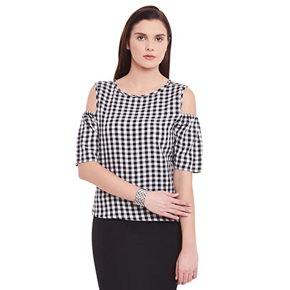 db0c0cbd94a310 Hook   Eye Black White Y Dyed Cotton Check with Cold Shoulder and Short