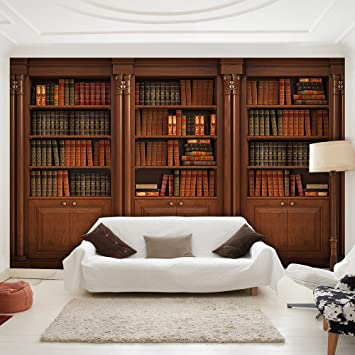 Tapete Bücherregal murando fototapete bücherregal 300x210 cm vlies tapete moderne