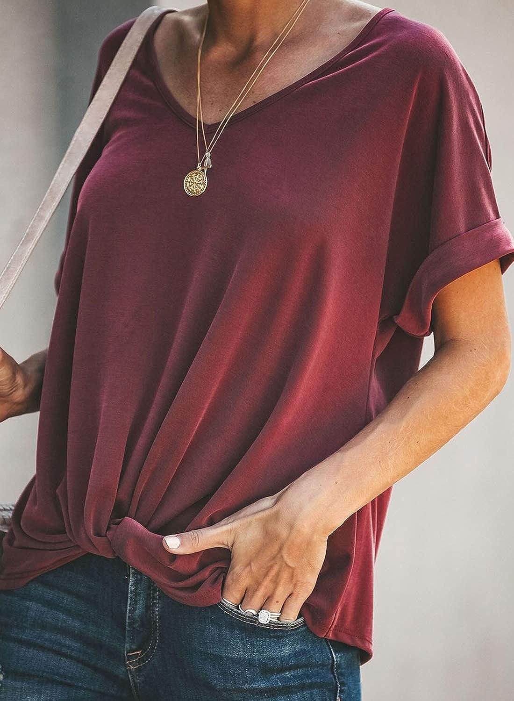 Paitluc Womens Short Sleeve Twist Knot Crewneck Tunic T Shirts Casual Tops