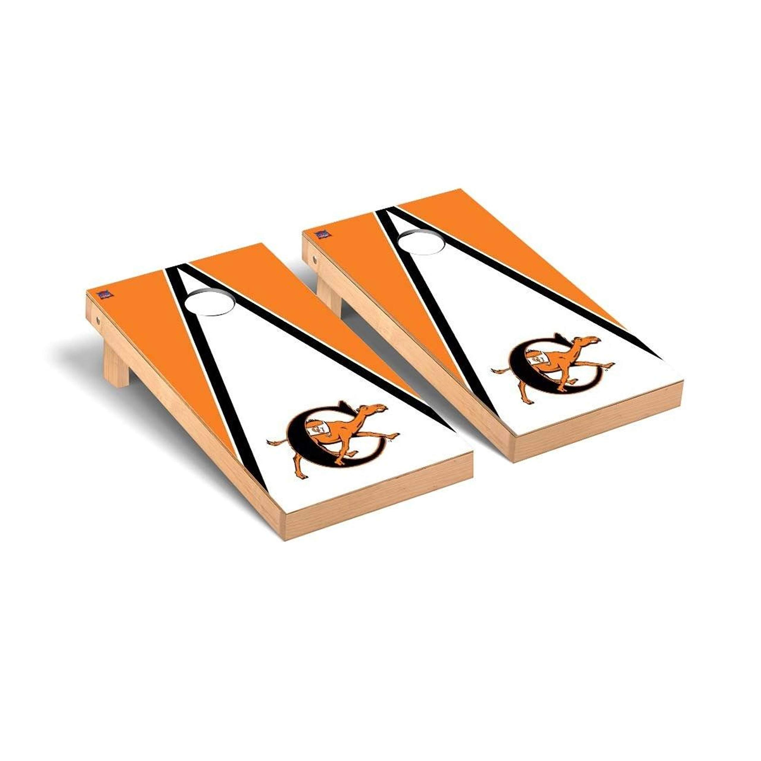 Victory Tailgate Regulation Collegiate NCAA Triangle Series Cornhole Board Set - 2 Boards, 8 Bags - Campbell Fighting Camels by Victory Tailgate