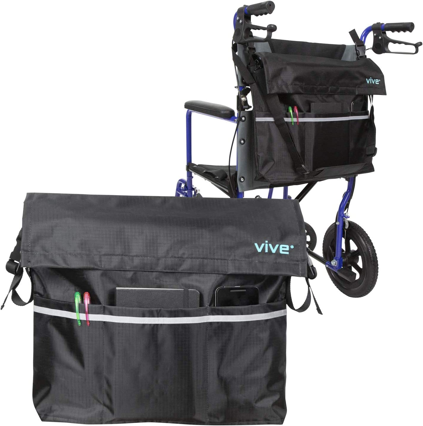 Vive Wheelchair Bag - Wheel Chair Storage Tote Accessory for Carrying Loose Items and Accessories - Travel Messenger Backpack for Men, Women, Handicap, Elderly - Accessible Pouch and Pockets, Black: Health & Personal Care