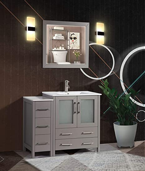 Amazon Com Vanity Art 42 Inch Single Sink Modern Bathroom Vanity Combo Set 1 Shelf 5 Drawers Ceramic Top Bathroom Cabinet With Free Mirror Va3030 42 G Kitchen Dining