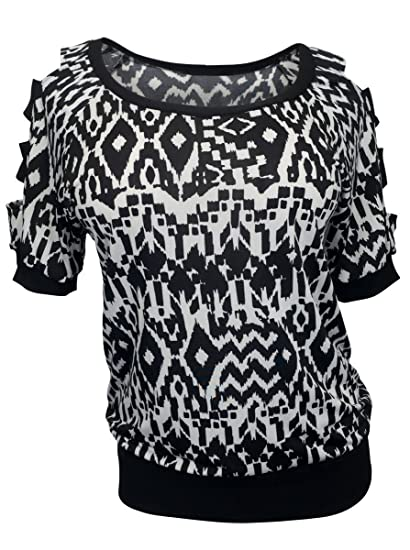 8e85aac3e15 eVogues Plus Size Cut Out Shoulder Top Abstract Print - 1X at Amazon  Women s Clothing store