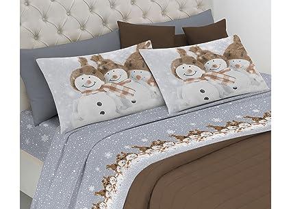Lenzuola Matrimoniali Low Cost.Biancheriaweb Completo Lenzuola Linea Pensieri Delicati In 100 Cotone Disegno Snowman Matrimoniale Beige
