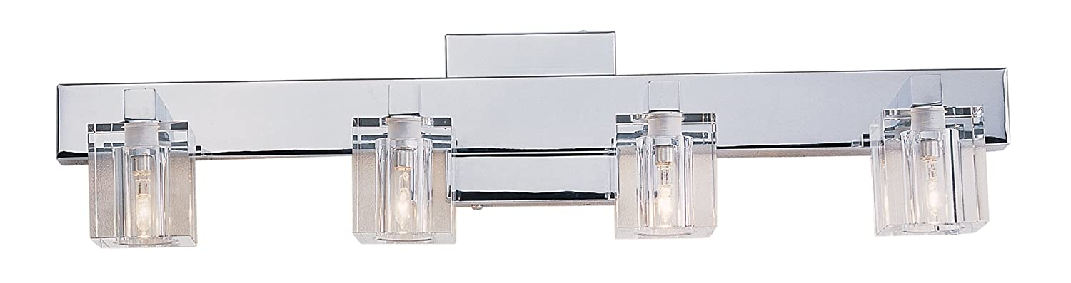 bathroom vanity lights chrome finish. Trans Globe Lighting 2844 PC Indoor Seaglass 24  Vanity Bar Polished Chrome Fixtures Amazon Com