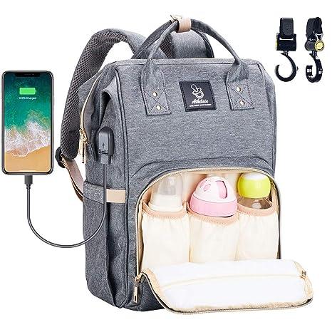 Athelain Mochilas para Pañales de Viaje - con Bolsa de Preservación de Calor, Material Impermeable, Bolsa de Hombro Grande Bolso para la Madre y el ...