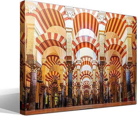 cuadrosfamosos.es Canvas Lienzo Bastidor La Mezquita de Córdoba - 55 cm x 40 cm - Fabricado en España: Amazon.es: Hogar
